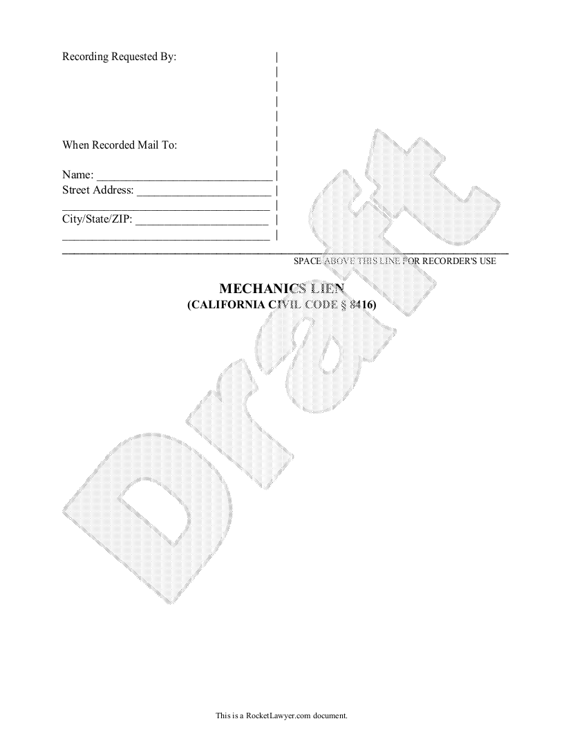 Sample Mechanic's Lien Form Template