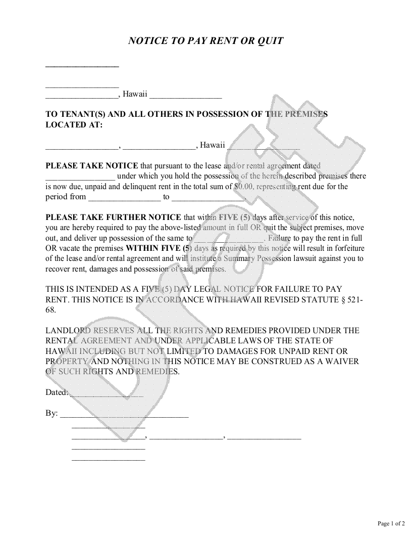 Sample Hawaii Eviction Notice Form Template