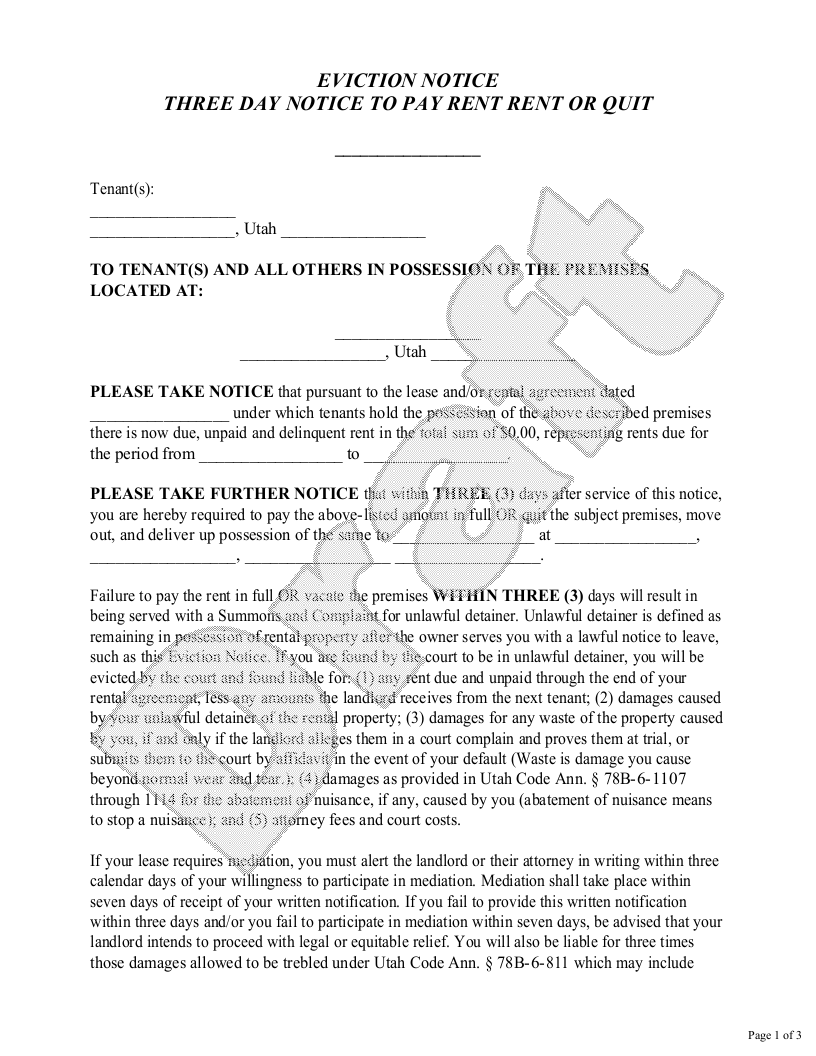 Sample Utah Eviction Notice Form Template