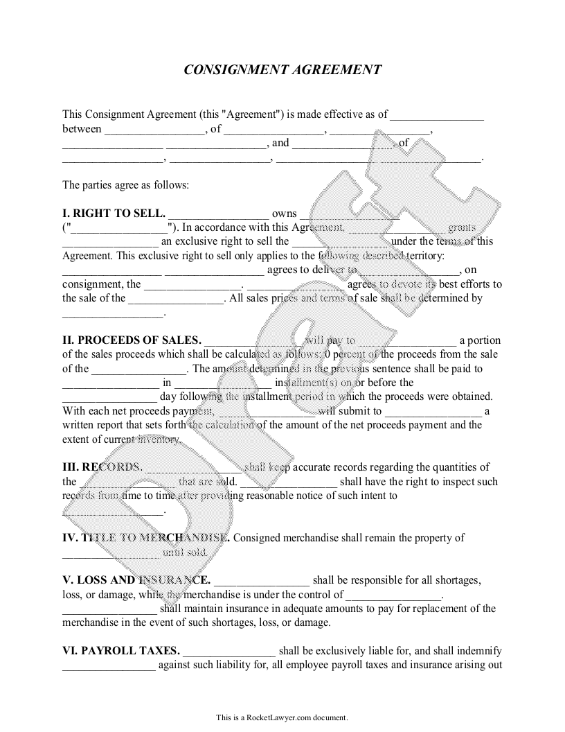 Sample Consignment Agreement Form Template