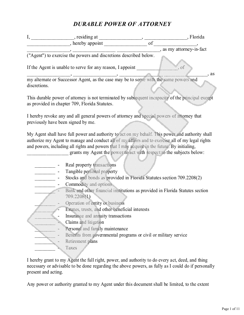 Sample Florida Power of Attorney Form Template