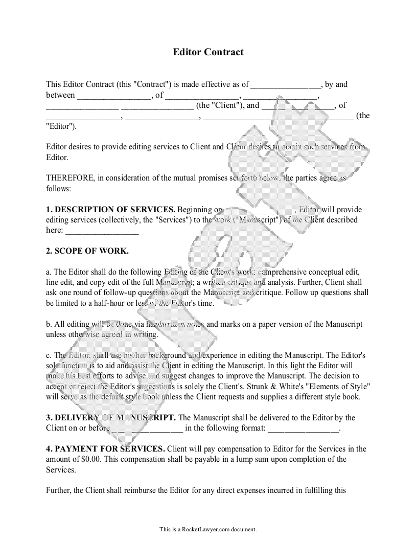 Sample Editor Contract Form Template