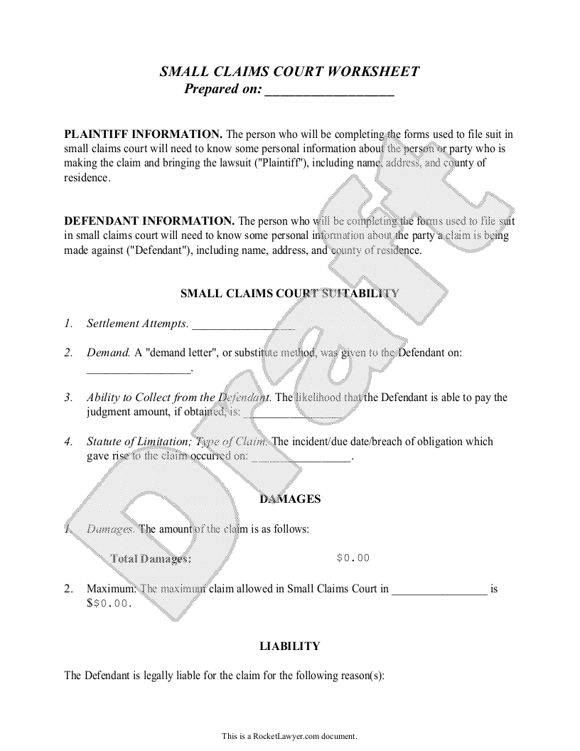 Sample Small Claims Worksheet Form Template