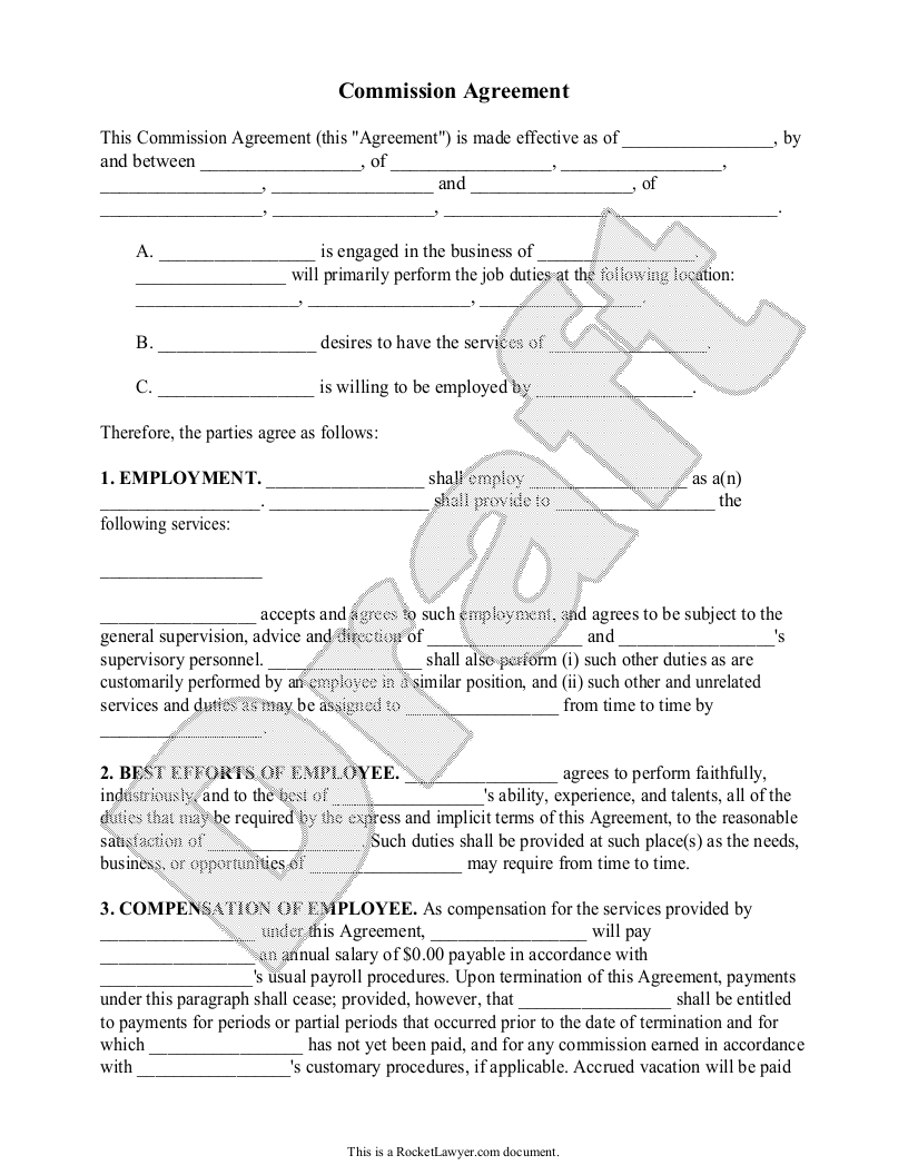Sample Commission Agreement Form Template