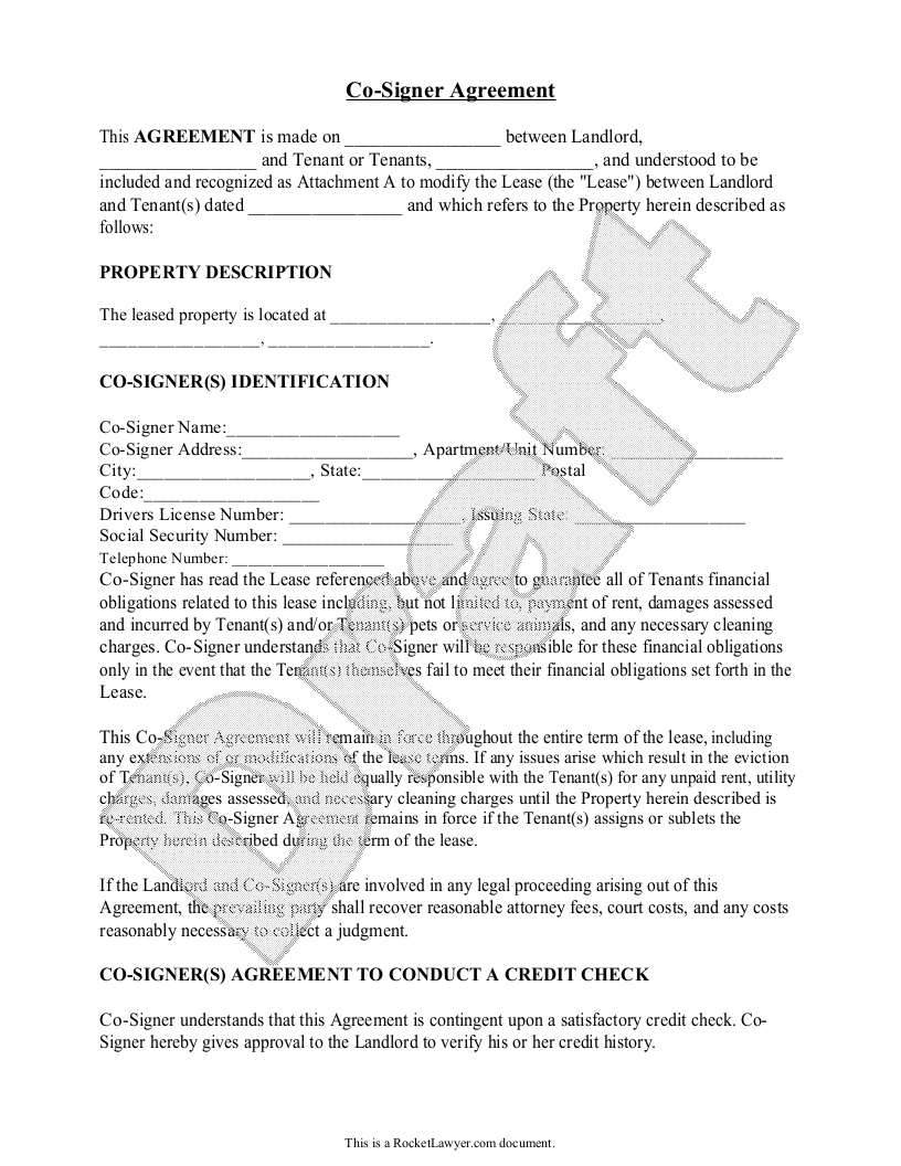 Sample Co-Signer Agreement Form Template