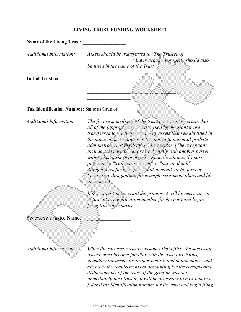 Sample Living Trust Funding Worksheet - Single Form Template