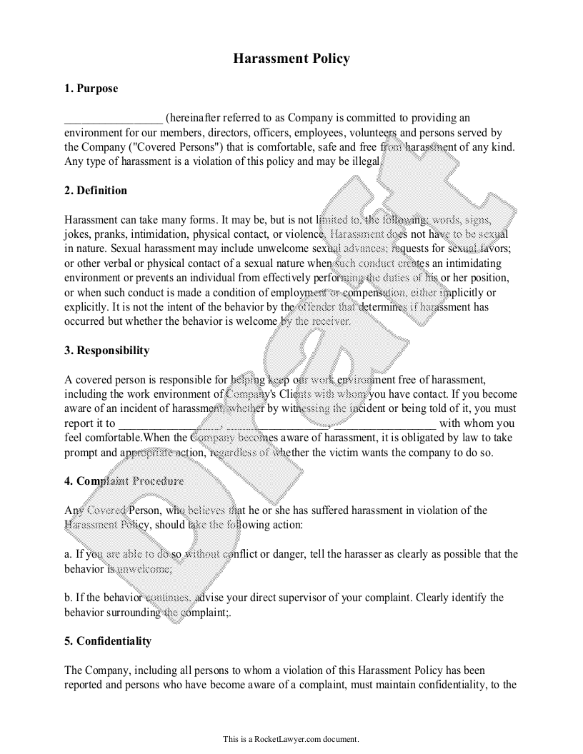 Sample Harassment Policy Form Template
