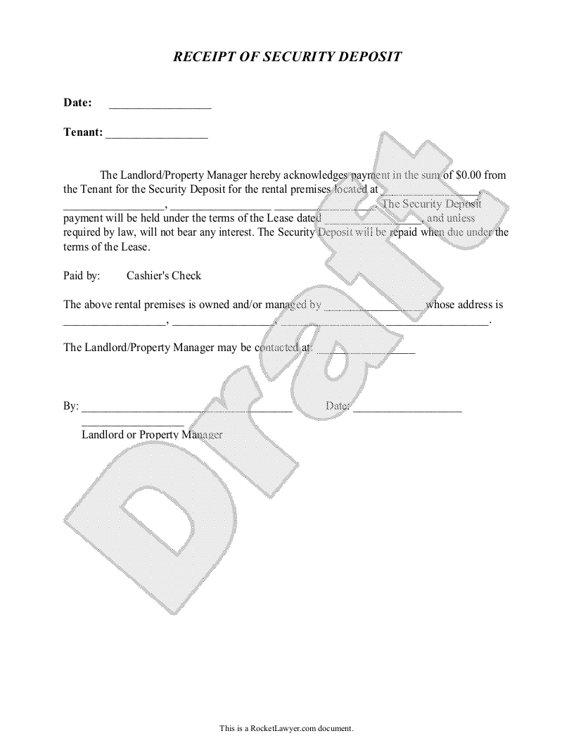 Sample Security Deposit Receipt Form Template