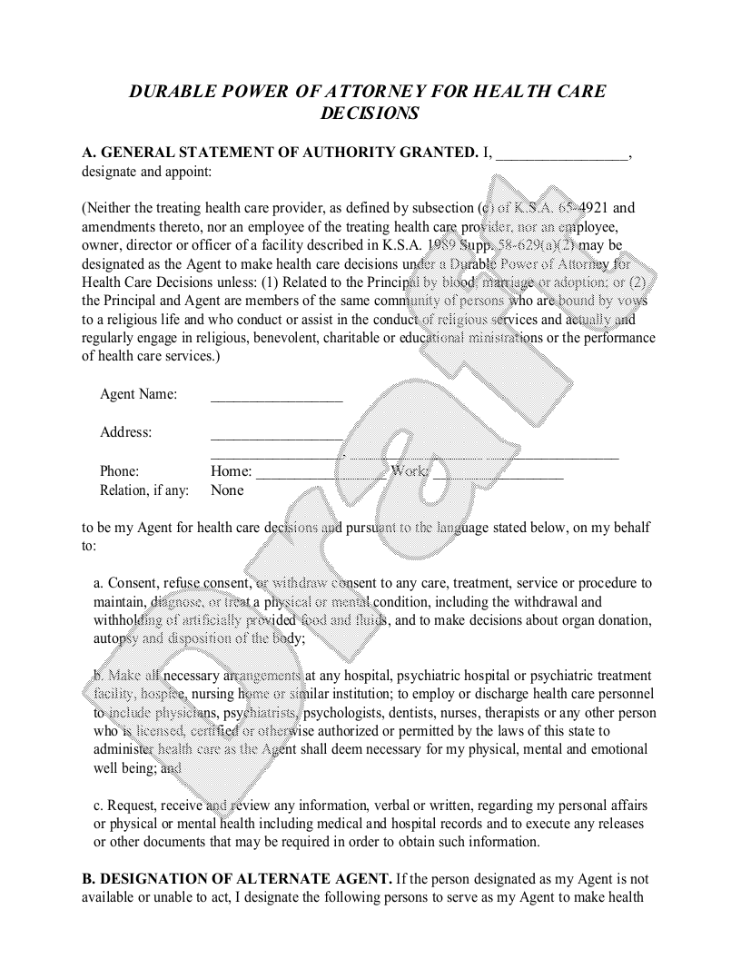 Sample Kansas Healthcare Power of Attorney Form Template