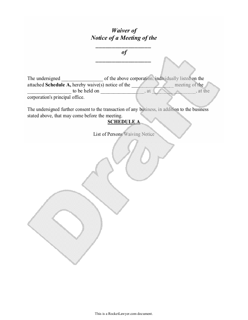 Sample Waiver of Notice Form Template