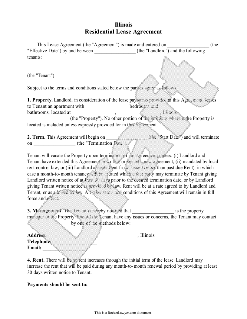 Sample Illinois Lease Agreement Form Template