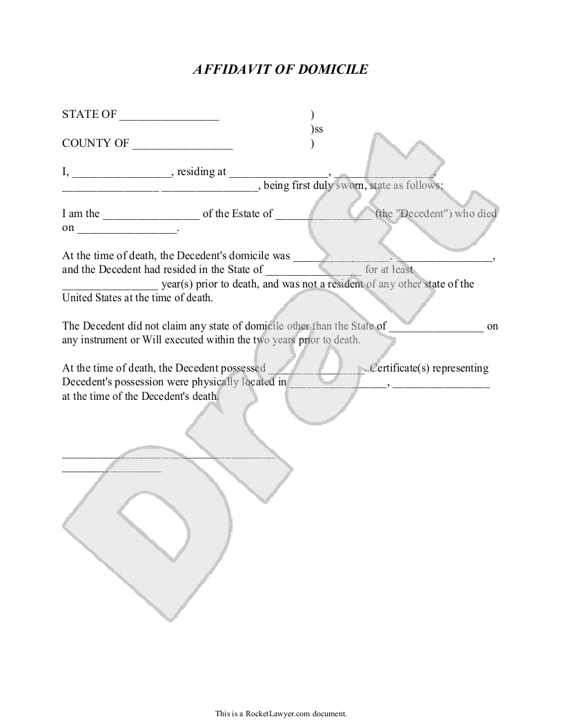 Sample Affidavit of Domicile Form Template
