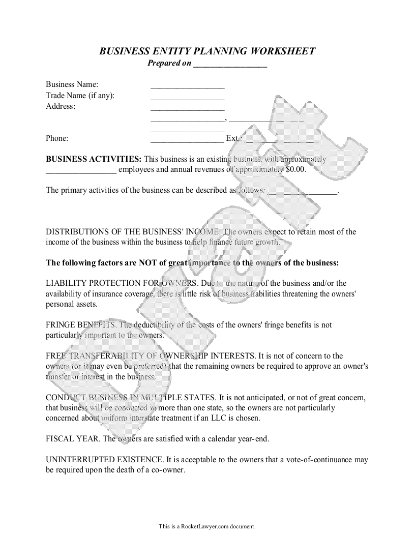 Sample Business Entity Planning Worksheet Form Template