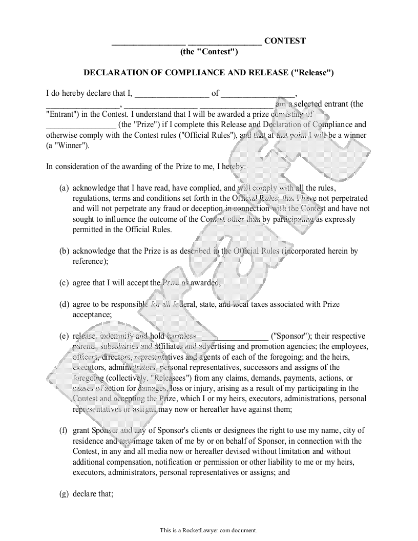 Sample Declaration of Compliance and Release for Sweepstakes Rules Form Template