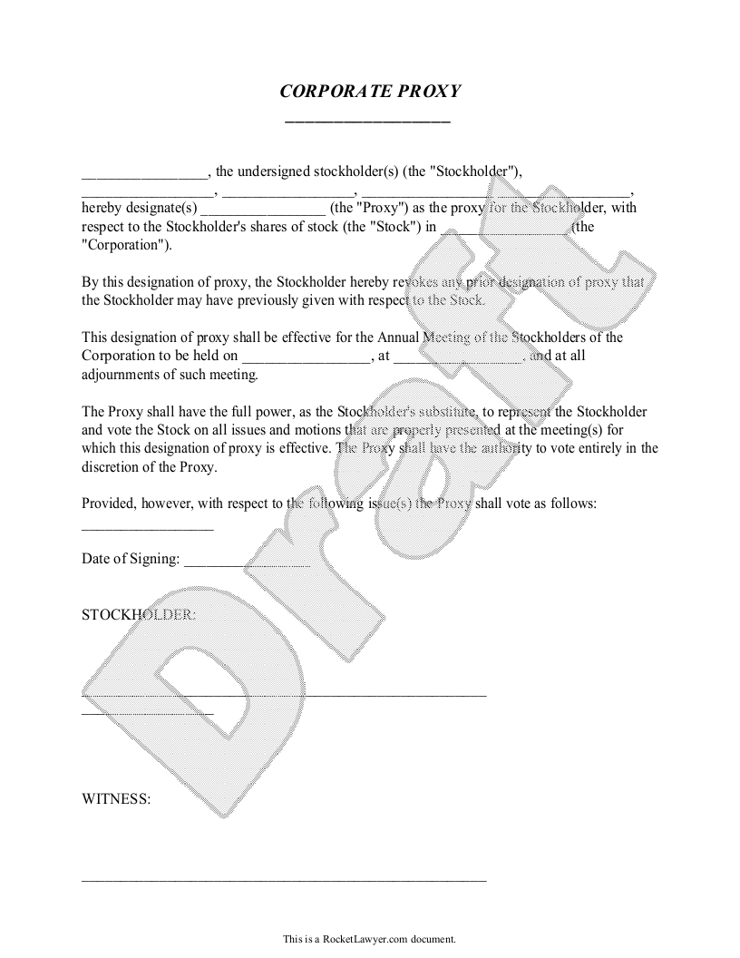 Sample Corporate Proxy Form Template