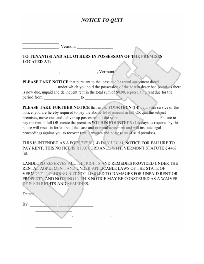 Sample Vermont Eviction Notice Form Template
