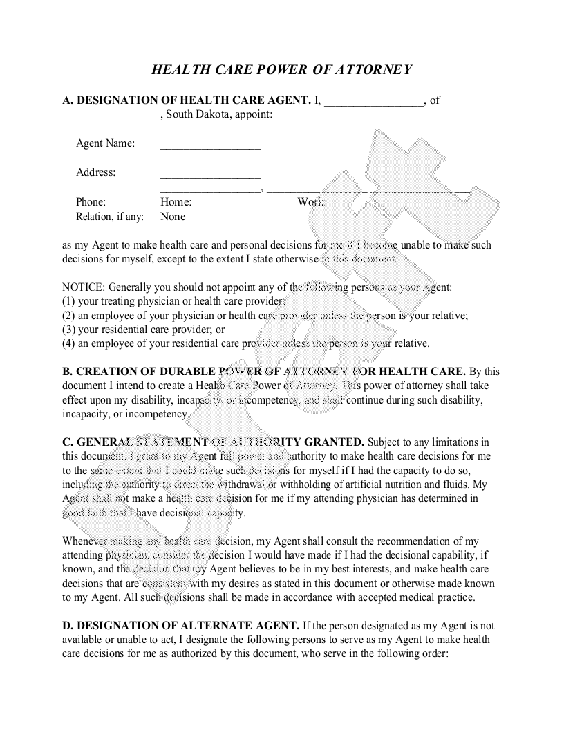 Sample South Dakota Healthcare Power of Attorney Form Template