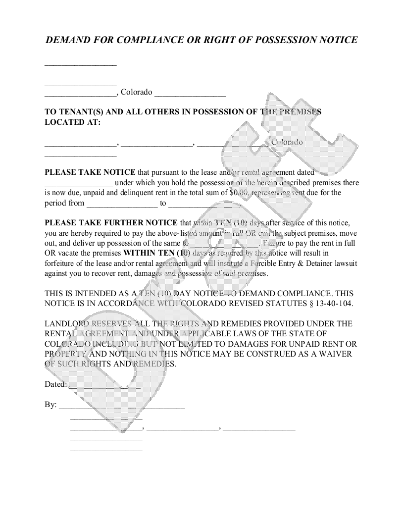 Sample Colorado Eviction Notice Form Template