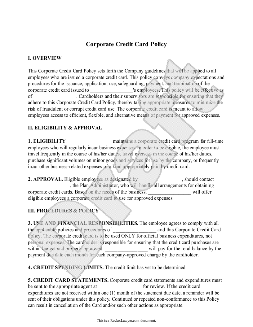 Sample Corporate Credit Card Policy Form Template
