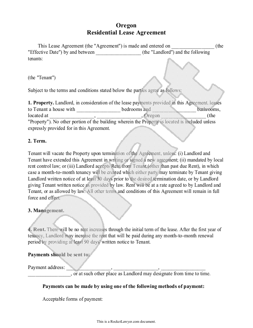 Sample Oregon Lease Agreement Form Template