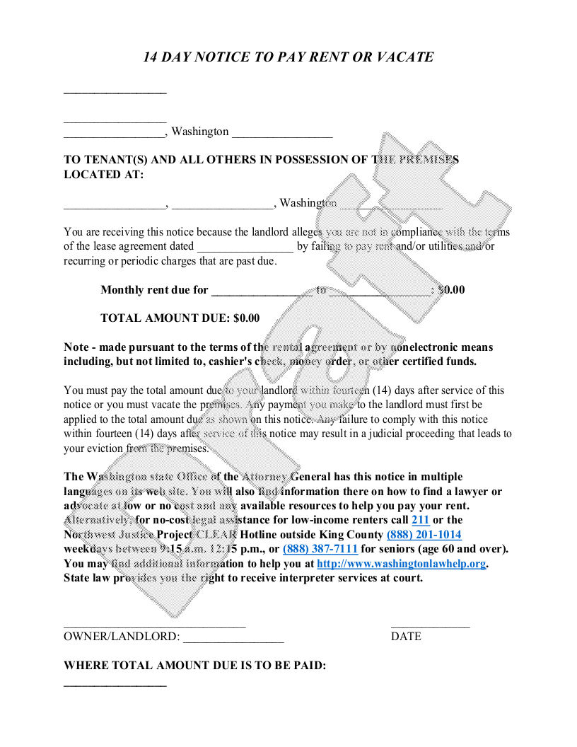 Sample Washington Eviction Notice Form Template