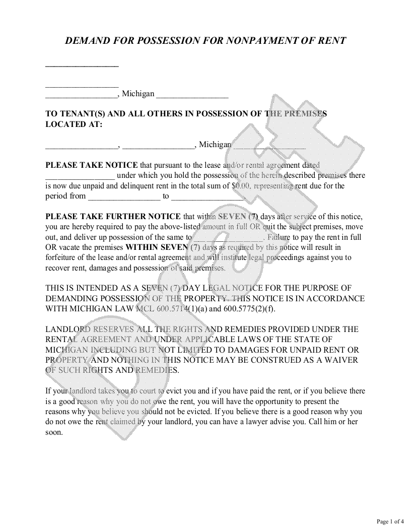 Sample Michigan Eviction Notice Form Template