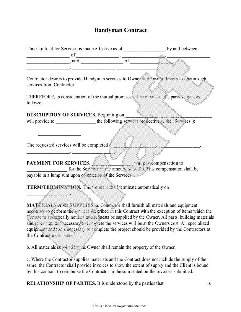 Sample Handyman Contract Form