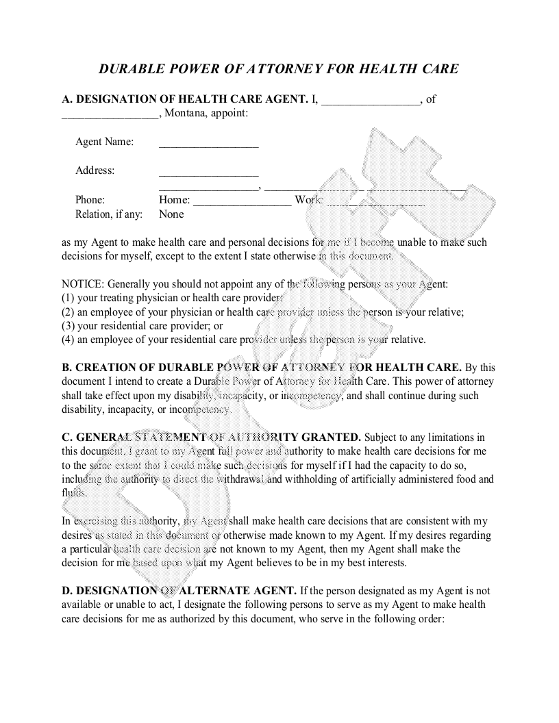 Sample Montana Healthcare Power of Attorney Form Template