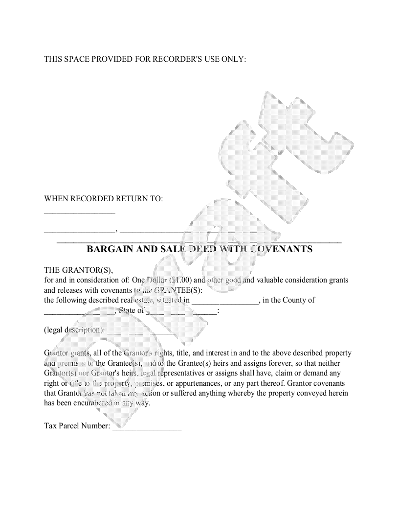 Sample Bargain and Sale Deed Form Template
