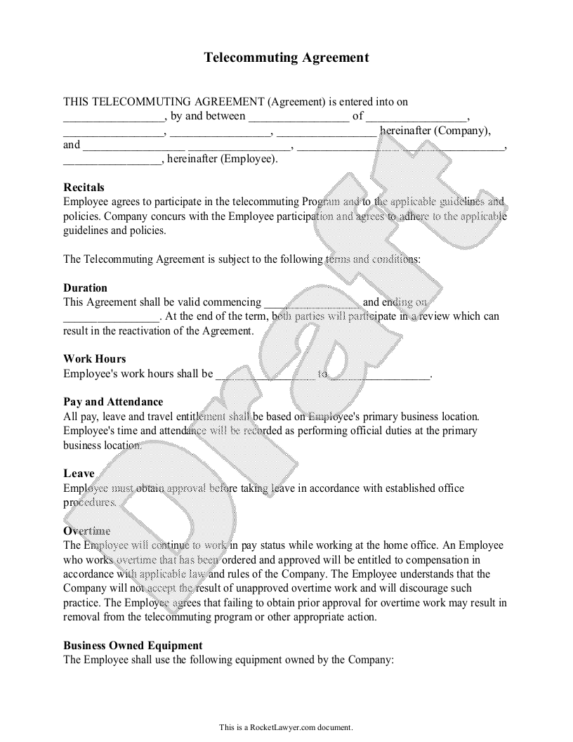 Sample Telecommuting Agreement Form Template