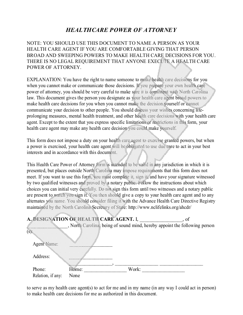 Sample North Carolina Healthcare Power of Attorney Form Template
