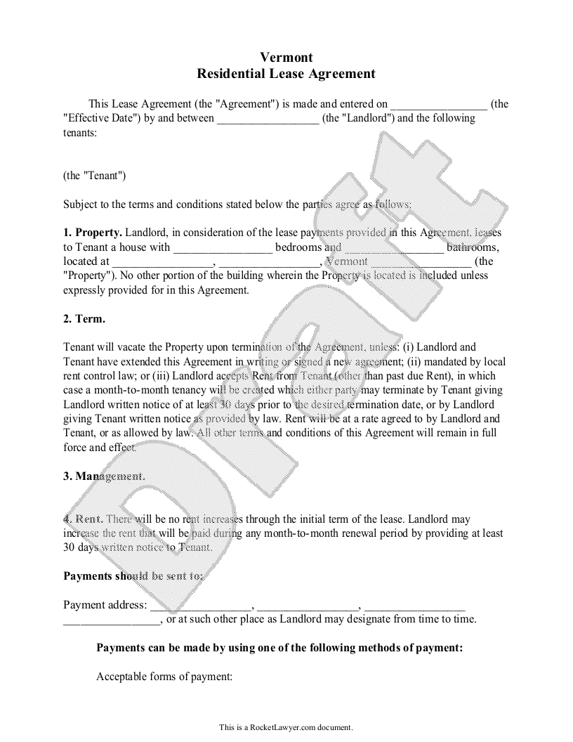 Sample Vermont Lease Agreement Form Template