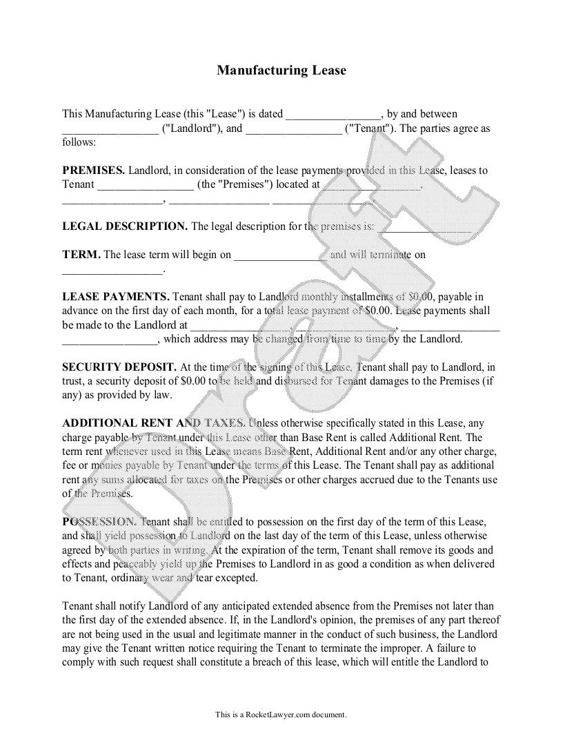 Sample Manufacturing Lease Form Template