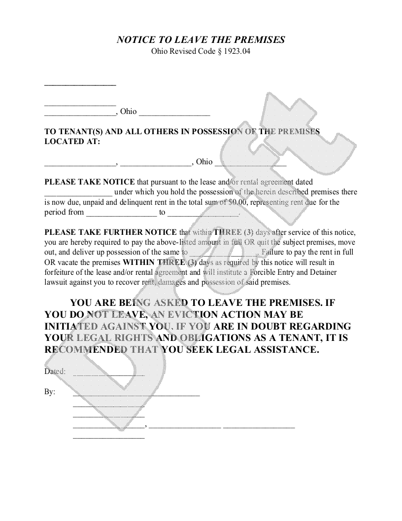 Sample Ohio Eviction Notice Form Template