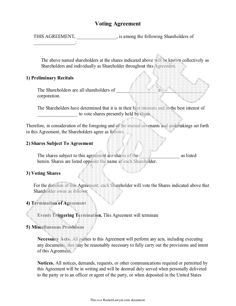 Sample Voter Agreement Form Template