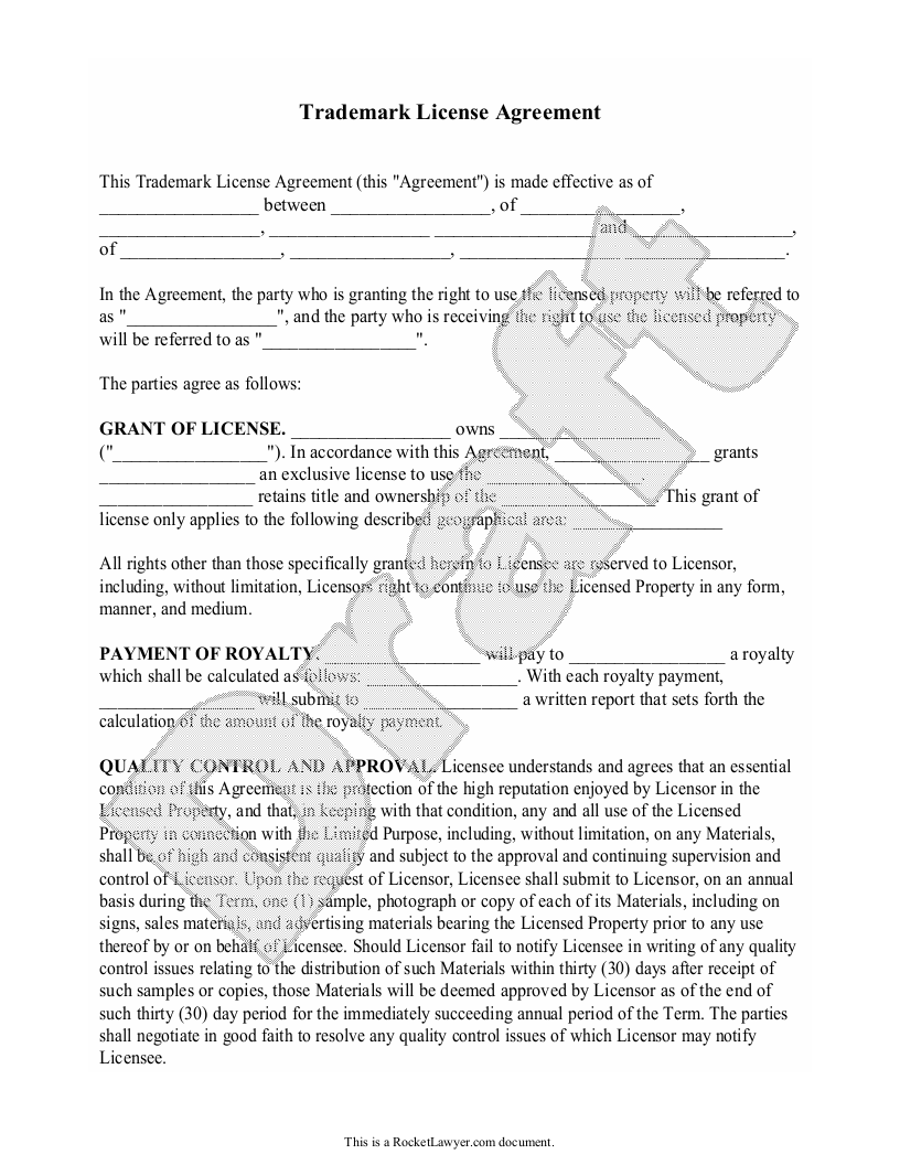 Sample Trademark License Agreement Form Template