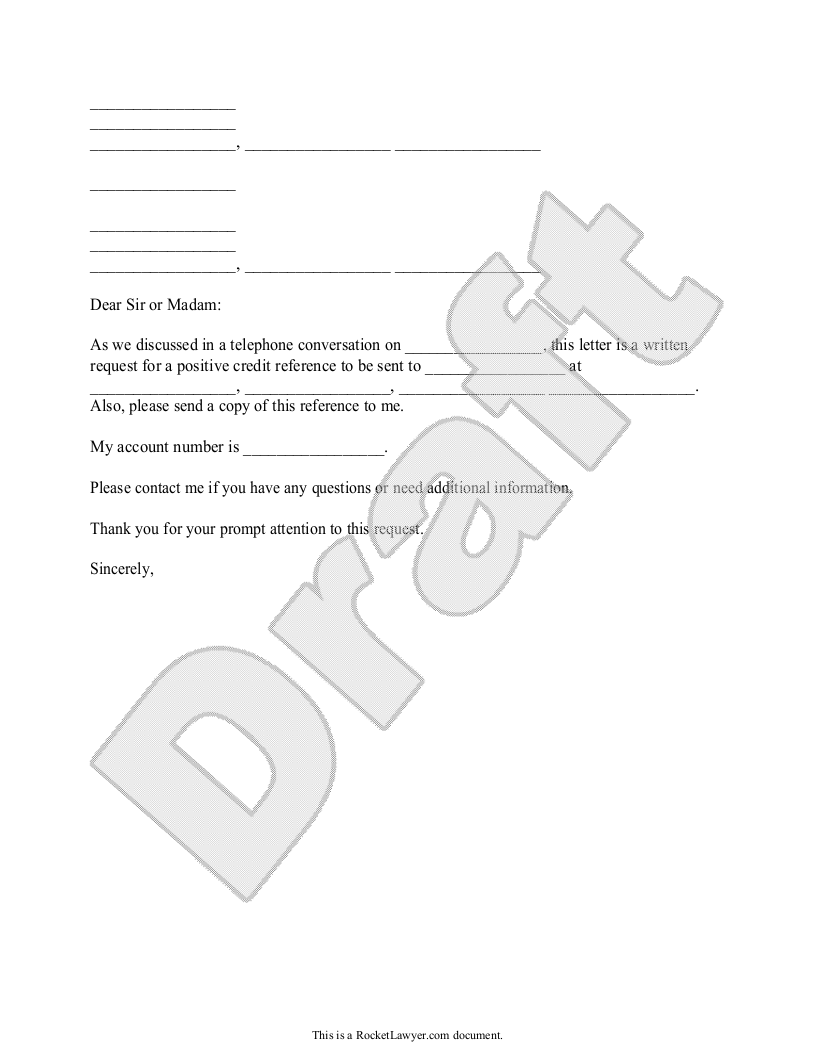 Sample Letter to Request a Credit Reference Form Template