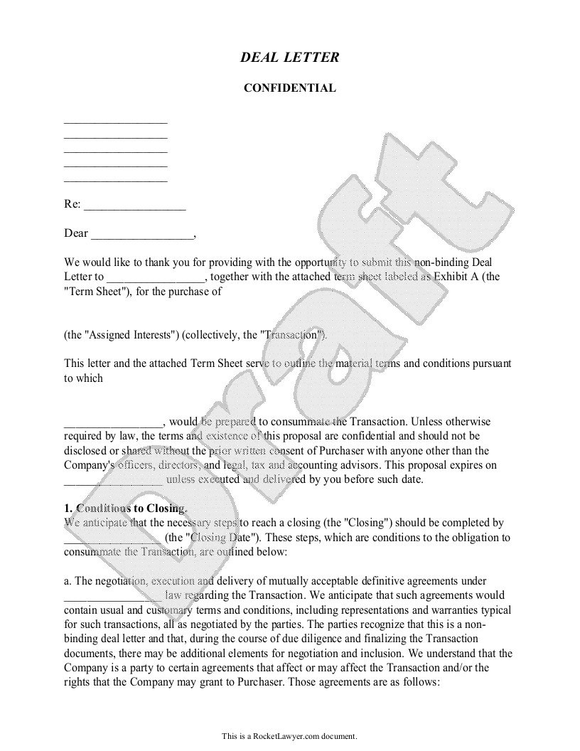 Sample Deal Letter Form Template