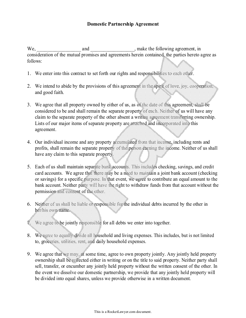 Sample Domestic Partnership Agreement Form Template