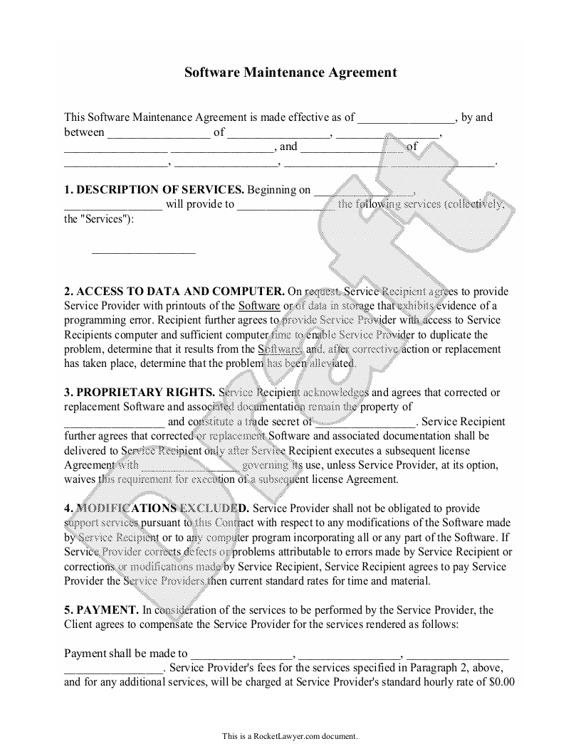 Sample Software Maintenance Agreement Form Template