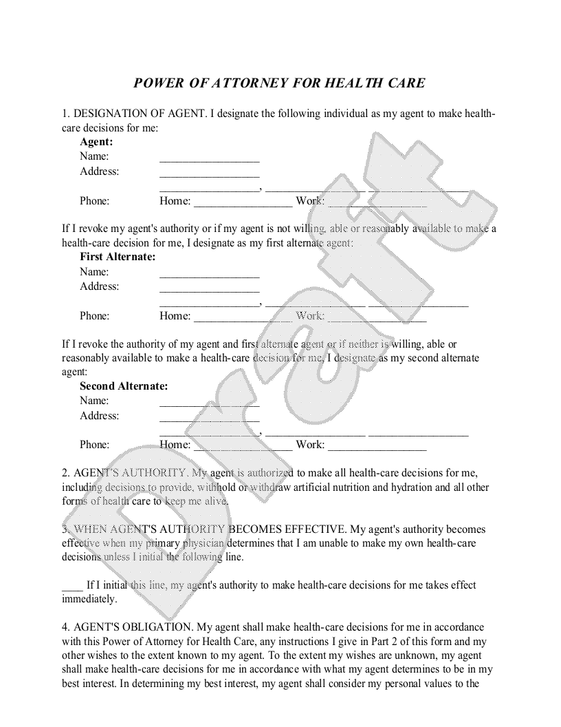 Sample Maine Healthcare Power of Attorney Form Template