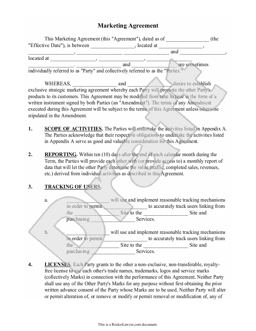 Sample Marketing Agreement Form Template