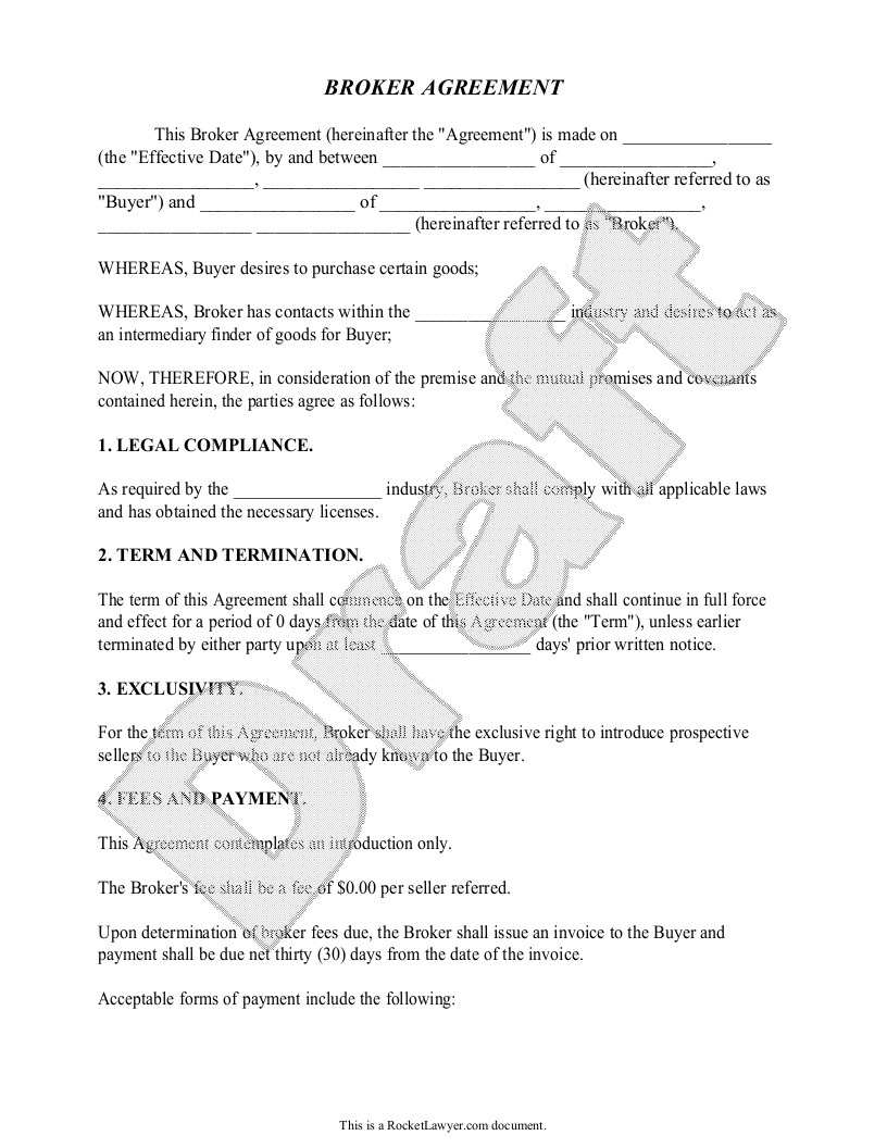Sample Broker Agreement Form