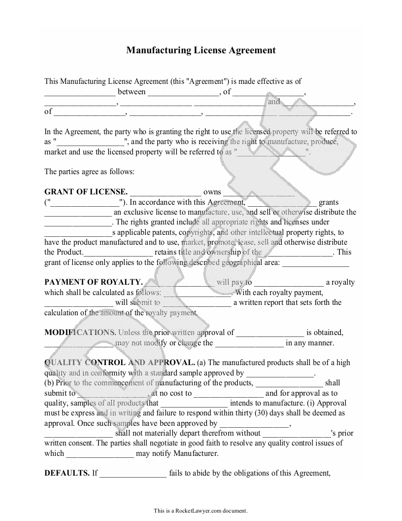 Sample Manufacturing License Agreement Form Template