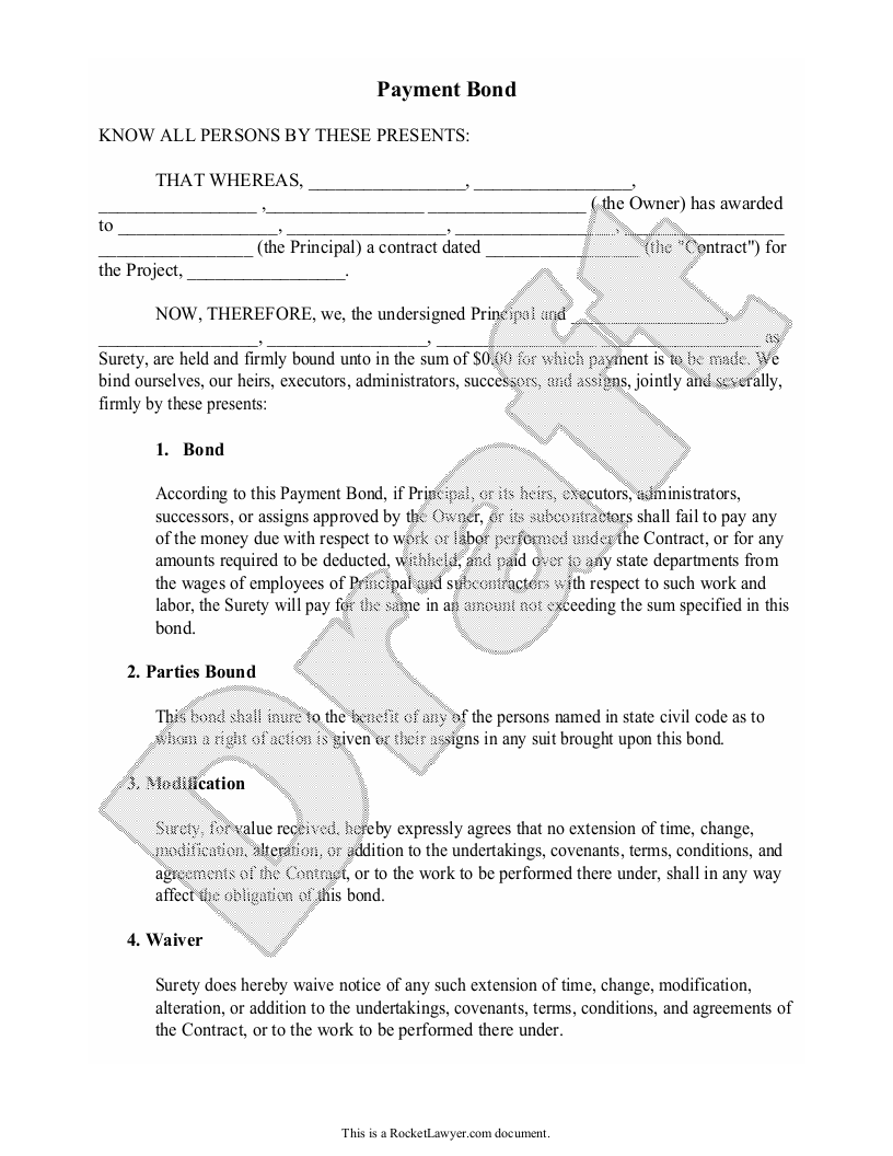 Sample Payment Bond Form Template