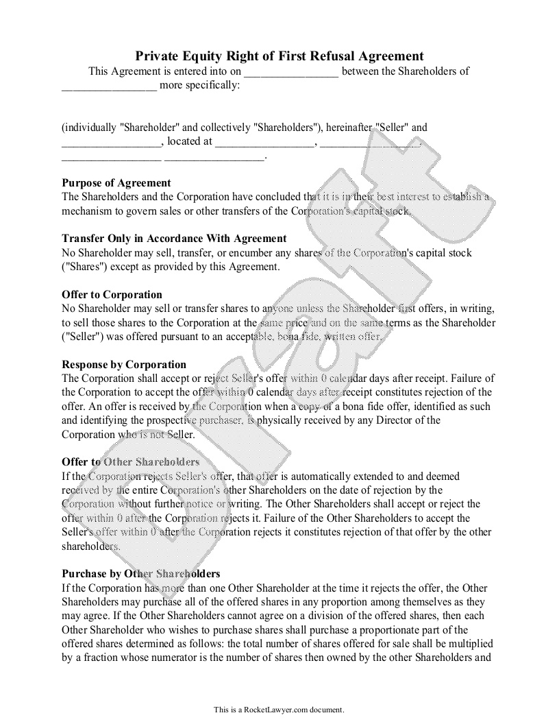 Sample Private Equity Right of First Refusal Agreement Form Template