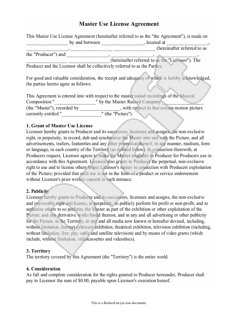 Sample Master Use License Agreement Form Template