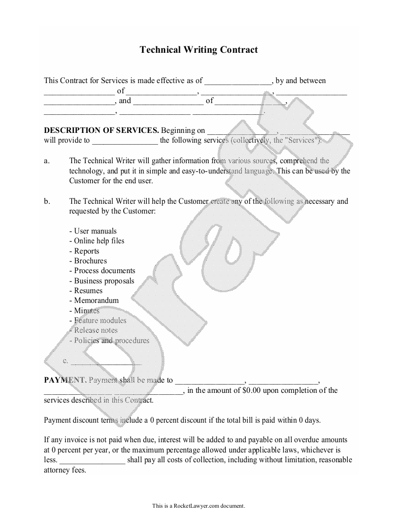 Sample Technical Writing Contract Form Template