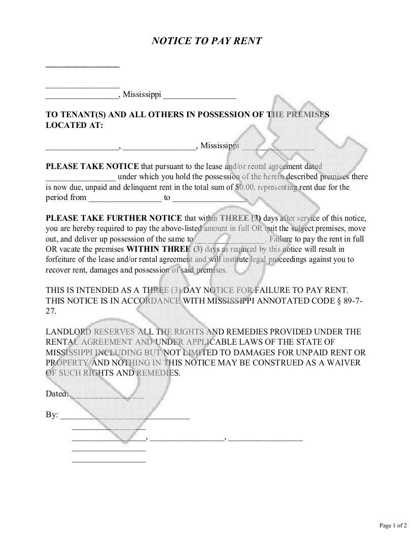 Sample Mississippi Eviction Notice Form Template