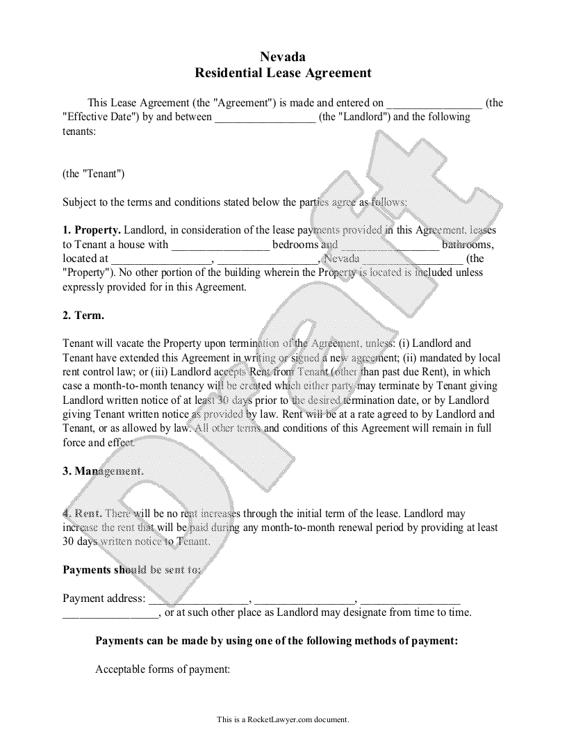Sample Nevada Lease Agreement Form Template
